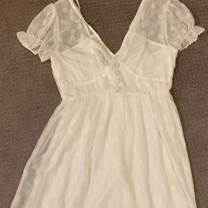 1950's Style Ivory Polka Dot Fit & Flare Dress